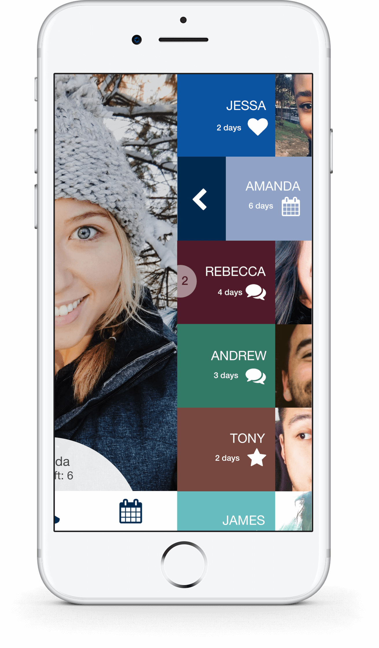 iPhone 7 displays colorful and lively menu of mobile dating application