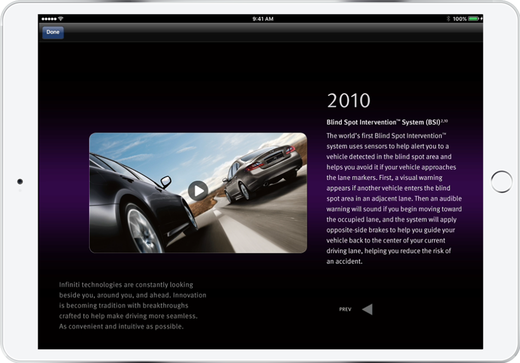Infiniti's refined design on iPad capably balances aesthetics and technical complexity