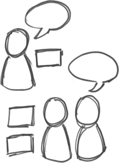 A sketch of two people being mentored by our software engineer. The group has questions that the engineer is answering.