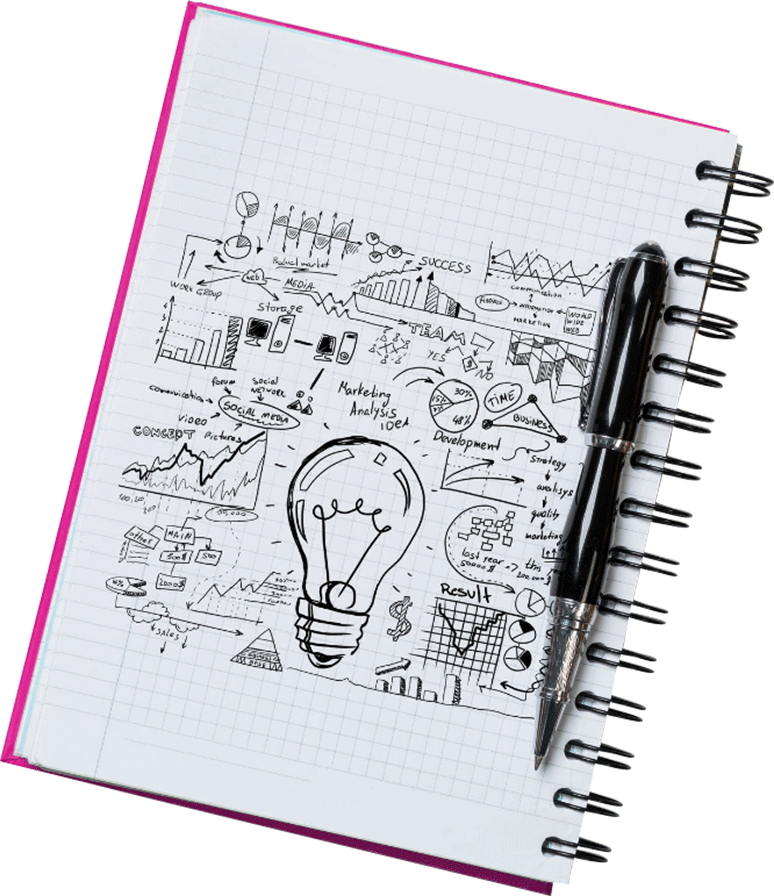 Designer's sketchbook displays lightbulb surrounded by hand-drawn charts and diagrams