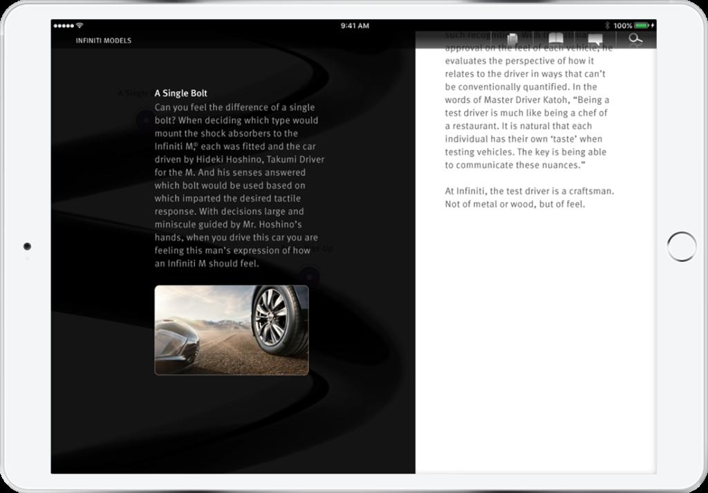 Infiniti app showcasing the design of the M model's shocks