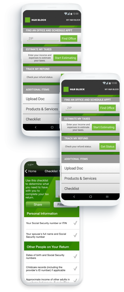 Andriod and iOS devices detail mobile application logic of tax estimator tool