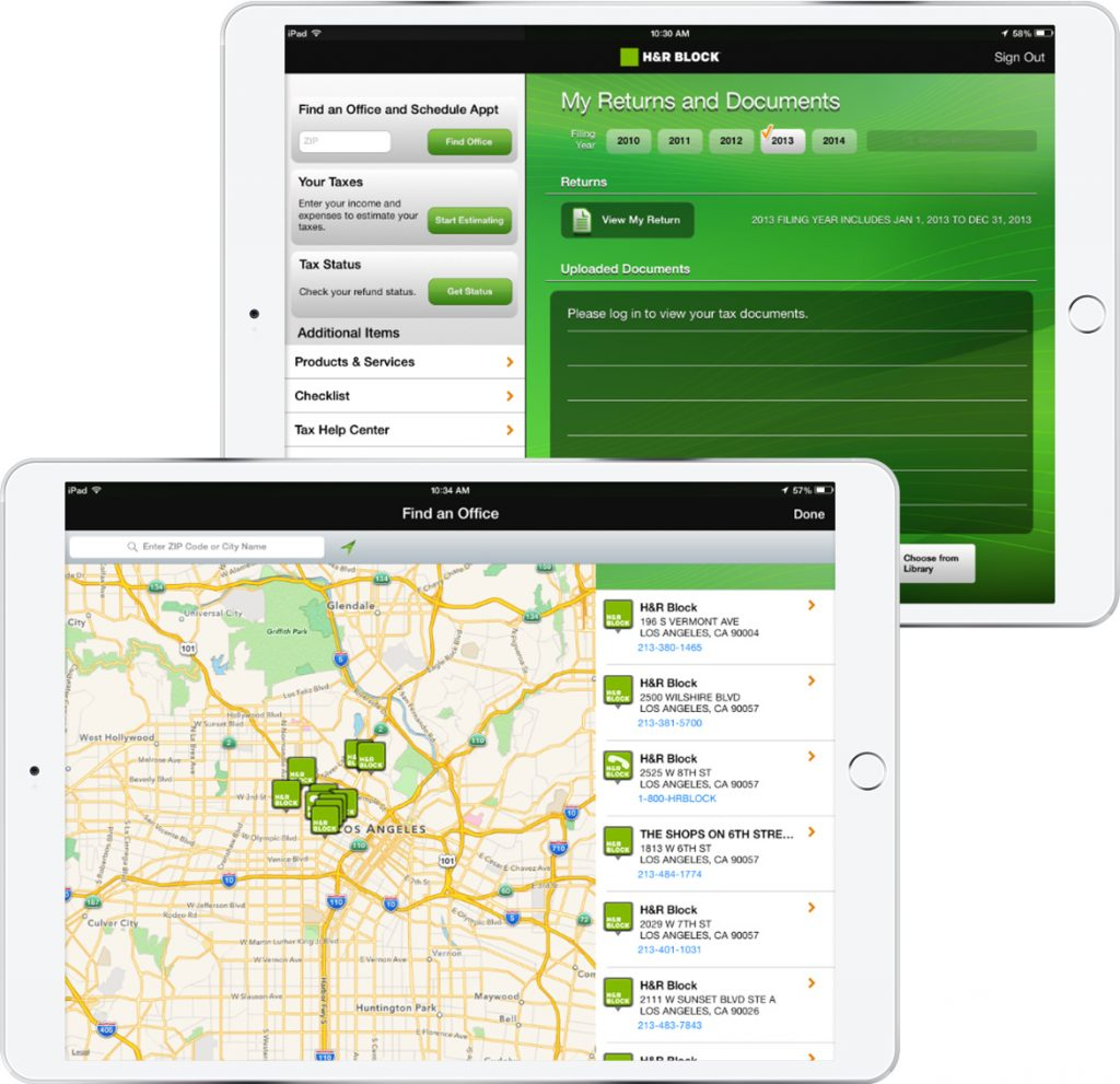 iPads display expansive scope of HR & Block's application, from GPS search to tax document compilation
