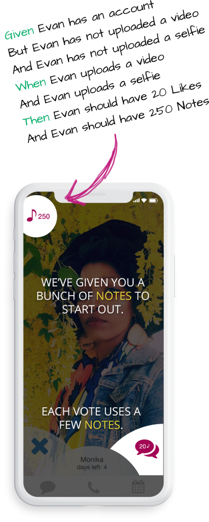 Given, when, then, scenario for a popup notification screen featuring instructions on how to use their currency system, within the dating app