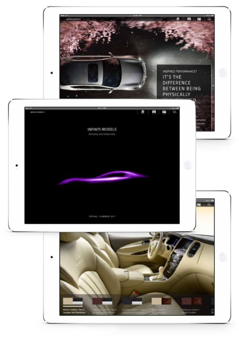 iPads feature sleek designs for Infinity's elegant mobile app