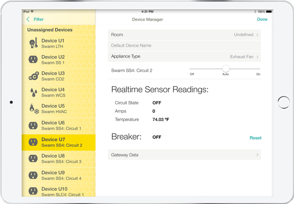 iPad displays complicated IoT network facilitated between tablet UI and real-time sensors