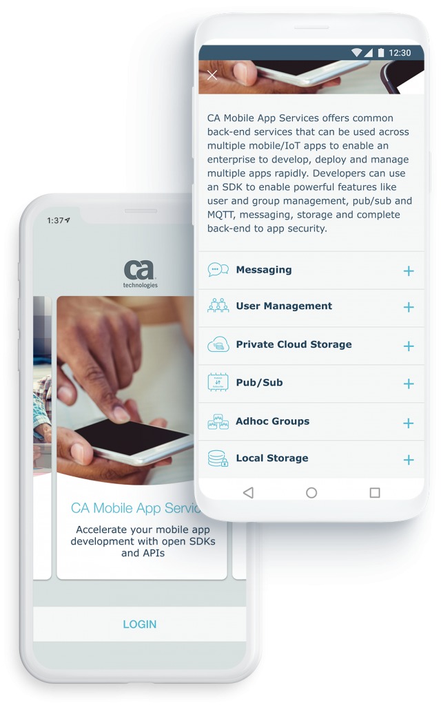 Devices display cross-platform and sales-specific mobile application for CA Technologies