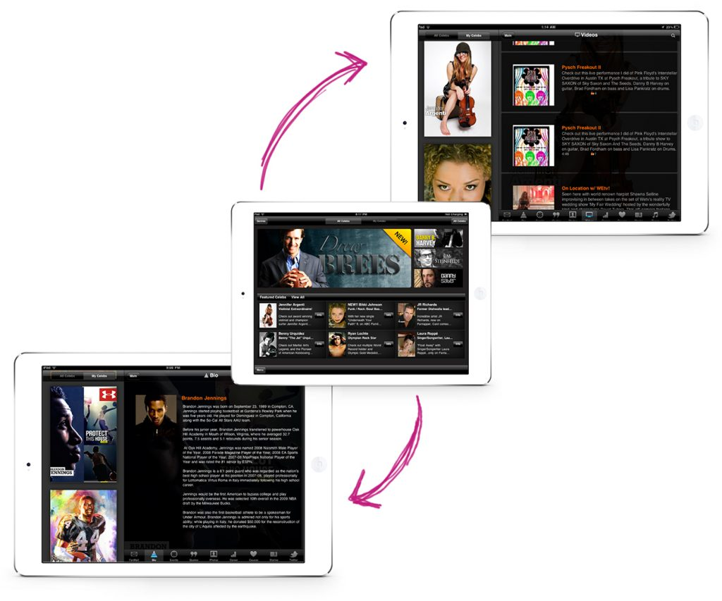arrows showing the flow of how the fantapper app functions on the ipad