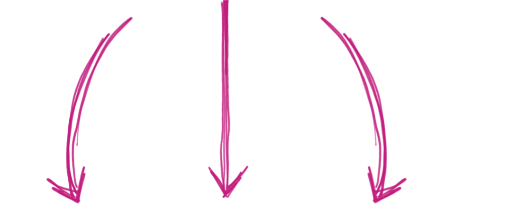 3 pink arrows pointing down