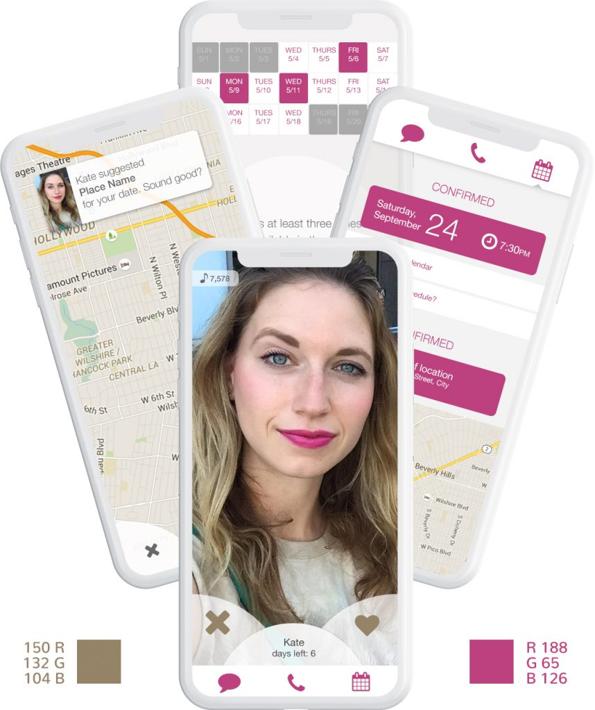 iphones of the zazazu dating app showing how color is used across multiple screens