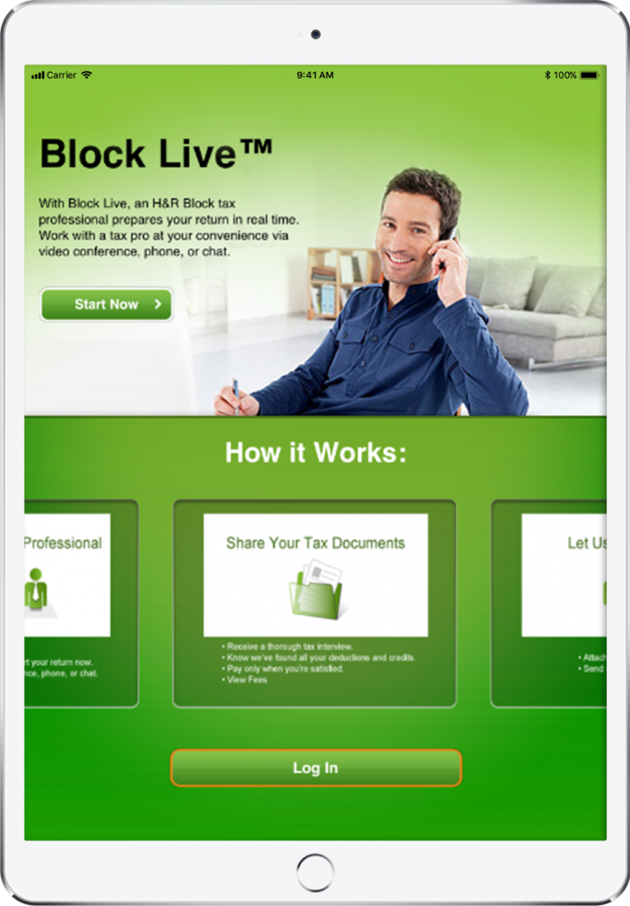 Block Live opening screen featuring a man in a blue shirt on a phone, displayed in an ipad