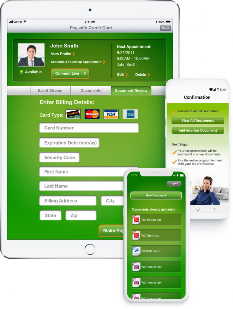 ipad, iphone and android devices showing the payment process of the H&R Block Live app