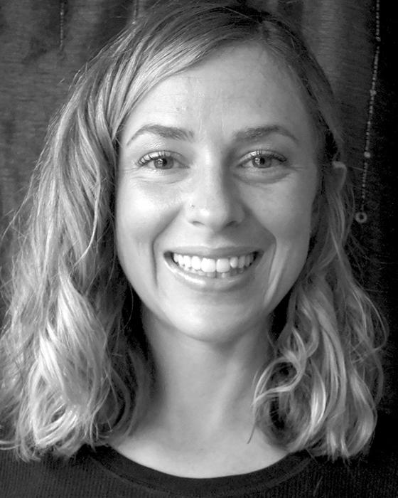 black and white photo of Jenna Regan